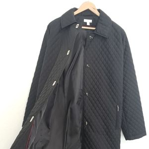 Charter Club Quilted Long Jacket Latch Closure